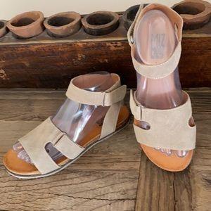 Miz Mooz Suede Ankle-Strap Sandals Camilla Sage 37